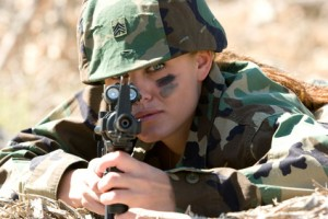 Military Woman With Gun