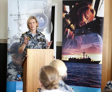 Captain Jennifer Wittwer at Monash University Photo: RAN